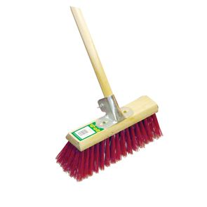 13 inch Red Stiff Broom Complete