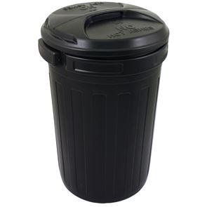 Black PVC Refuse Bin with Lid 80L