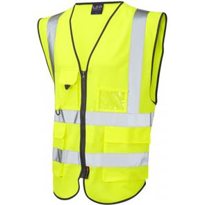 Zipped High Visibility Multipocket Waistcoat With ID Pouch