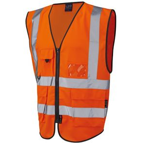 Zipped High Visibility Waistcoat Multi-Pocket with ID Pouch